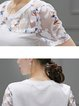 White Sweet Floral Polyester T-Shirt
