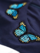 Blue Crew Neck Swing Embroidery Folds Casual Dresses