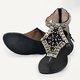 Vintage Beaded Toe Post Gladiator Sandals