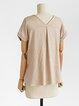 V neck Short Sleeve Cotton T-Shirt