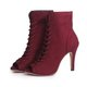 Flocking High Heel Lace Up Pump Heel Boots