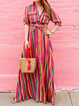 Shawl Collar Red Shift Women Daytime Casual Half Sleeve Buttoned Striped Summer Dress