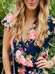 Blue Floral Short Sleeve V neck Floral-print Rompers
