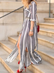 Shirt Collar White Women Daily Half Sleeve Basic Paneled Striped Summer Dress