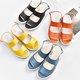 Split Leather Adjustable Buckle Platform Sandals