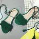 Women Leather Sandals Casual Lace Up Tassel Shoes