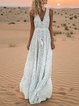 V neck White Women Sleeveless Basic Printed Solid Floral Dress