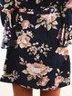 Off Shoulder  A-line Women Daily Frill Sleeve Elegant Paneled Floral Floral Dress