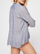 Blue Plunging neck Long Sleeve Linen Blouse