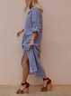 Shawl Collar Blue Shift Women Daytime Cotton Casual Long Sleeve Pockets Striped Summer Dress