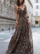 V neck  Swing Women Daily Spaghetti Chiffon Paneled Prom Dress