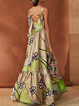 Green Women Daily Spaghetti Floral Prom Dress