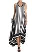 Black  Women Daily Basic Cotton Sleeveless Paneled Striped Summer Dress