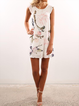 White A-line Women Basic Short Sleeve Floral Floral Dress