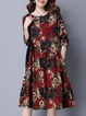 Shift Women Daytime Casual Linen Long Sleeve Paneled Floral Casual Dress