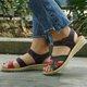 Women PU Sandals Casual Peep Toe Magic Tape Shoes