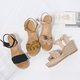 Women Flocking Wedge Sandals Casual Comfort Adjustable Buckle Shoes