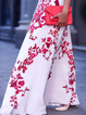 White Shift Women Basic Sleeveless Paneled Floral Prom Dress