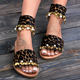 Women Flocking Sequin Sandals Casual Buckle Plus Size Shoes
