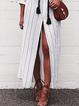 Shirt Collar White Shift Women Cotton Casual Long Sleeve Slit Spring Dress