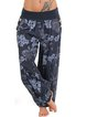 Floral Buttoned Pockets Plus Size Printed/Dyed Pants