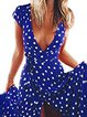 Swing Women Short Sleeve Boho Paneled Polka Dots Floral Dress
