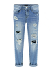 Blue Cotton Casual Solid Plus Size Ripped Buttoned Pockets Jeans