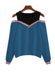 Cotton Solid Casual Cold Shoulder Color-block Sweatshirt