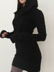 Hoodie Black Bodycon Women Going out Elegant Long Sleeve Cotton Paneled Casual Dress
