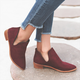Women Suede Slip On Booties All Season Chunky Heel Casual Shoes