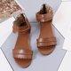 Plus Size Breathable PU Flat Zipper Sandals
