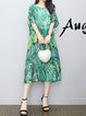 Green Shift Women Daily Casual Short Sleeve Leaf Casual Dress