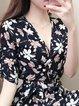 Surplice Neck Black A-line Women Daytime Half Sleeve Casual Printed Floral Elegant Dress