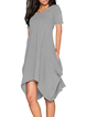 A-line Women Daily Casual Cotton-blend Short Sleeve Solid Summer Dress