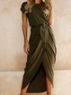 Women Summer Dress High Low Daytime Short Sleeve Slit Dress