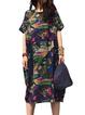 Women Print Dress Crew Neck Cocoon Paneled Abstract Dress