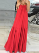 Red Shift Women Holiday Cotton Sleeveless Paneled Solid Summer Dress
