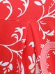 Red 3/4 Sleeve High Low Stand Collar Floral Printed Tunic