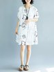Women Batwing Casual Printed Abstract Casual Dress