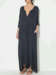 Plunging neck Gray Asymmetrical Women Daily 3/4 Sleeve Casual Summer Dress