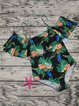 Off Shoulder Leaf Floral Printed Ruffles One-piece