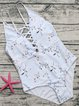 Light Blue Floral Lace-up One-piece