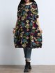 Women Print Dress Crew Neck Shift Daily Casual Pockets Dress