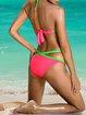 Color-block Halter Solid Padded Wireless Bralette Bikini