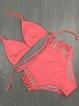 High Rise Solid Halter Padded Wireless Bikini