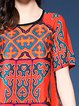 Multicolor Women Print Dress Crew Neck Shift Daytime Short Sleeve Tribal Dress