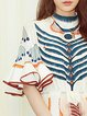 Multicolor Women Elegant Dress Stand Collar Party Bell Sleeve Printed Dress