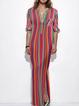 V neck Red Women Half Sleeve Stripe Slit Striped Summer Dress