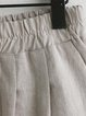 Shift Plus Size Linen Cotton Solid Pockets Gathered Shorts