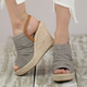 Large Size Espadrille Wedge Peep Toe Ankle Strap Sandals